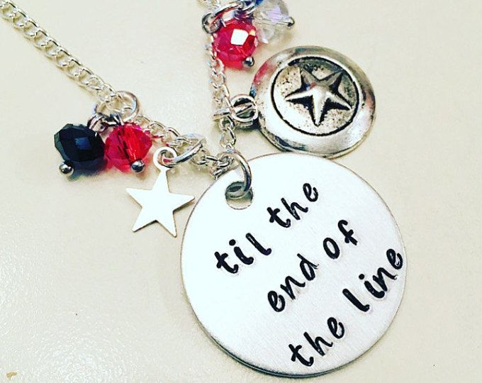 Til the End of the Line Stucky Bucky Barnes Winter Soldier & Captain America Steve Rogers Charm Necklace