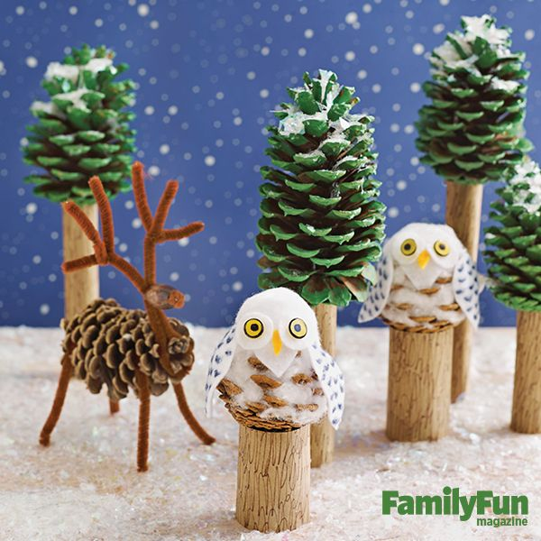 Fun Winter Kids Crafts Pine Cone Decorations Winter Crafts For