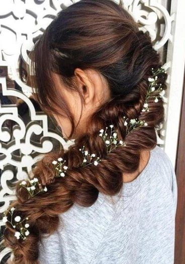 Long Flat Mermaid Plait With Flowers Plaits Hairstyles Hair Styles Mermaid Hair