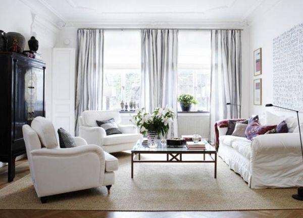 Wohnzimmer Raumgestaltung Weiß Grau Dunkles Holz Vintage Schrank Polster  Möbel