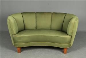 curved sofas and loveseats | Small Danish 2-pers. Curved sofa from the 1940s.