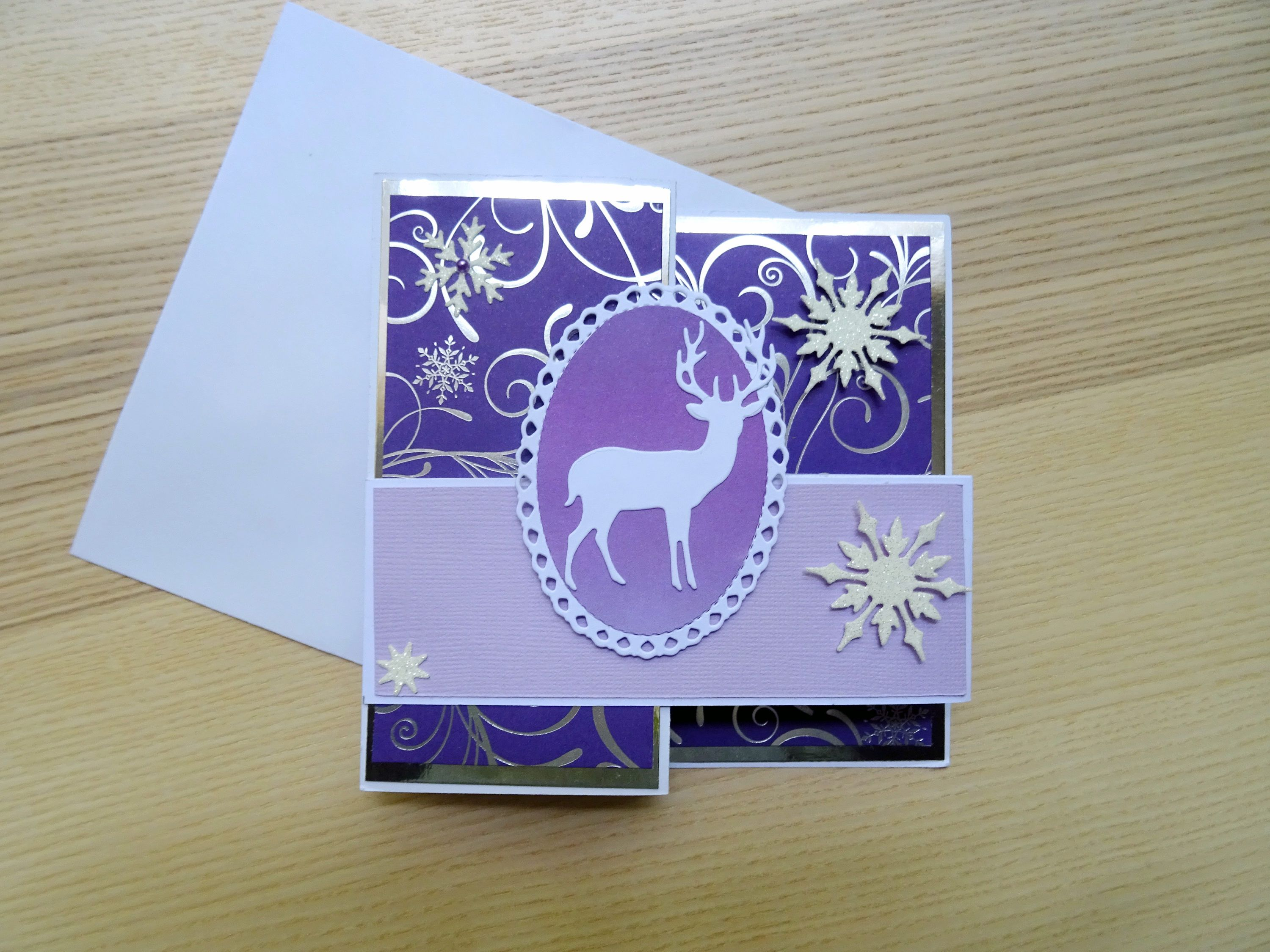 Purple Christmas Z Fold Pop Up Box Greeting Card Handmade Card