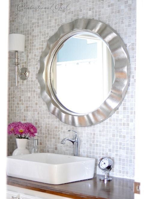 Gorgeous Before After Bathroom With Diy Mosaic Wall Backsplash By Centsational