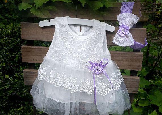 Baby Jurk en Hoofdband White Lavender-baby van TheBabyRose op Etsy