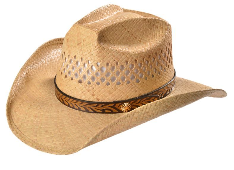054e2f5baae79 Shady Brady Embossed Leather Band Vented Crown Raffia Straw Cowboy Hat  available at  Sheplers