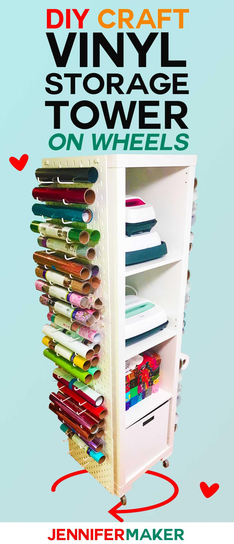 Craft Vinyl Storage Tower Diy Vertical Organizer For Vinyl Rolls