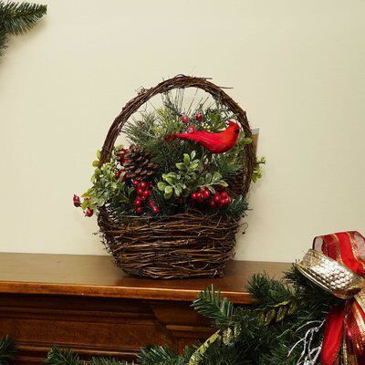 wayfair christmas decoration cardinal with berries and foliage floral arrangement in twig basket