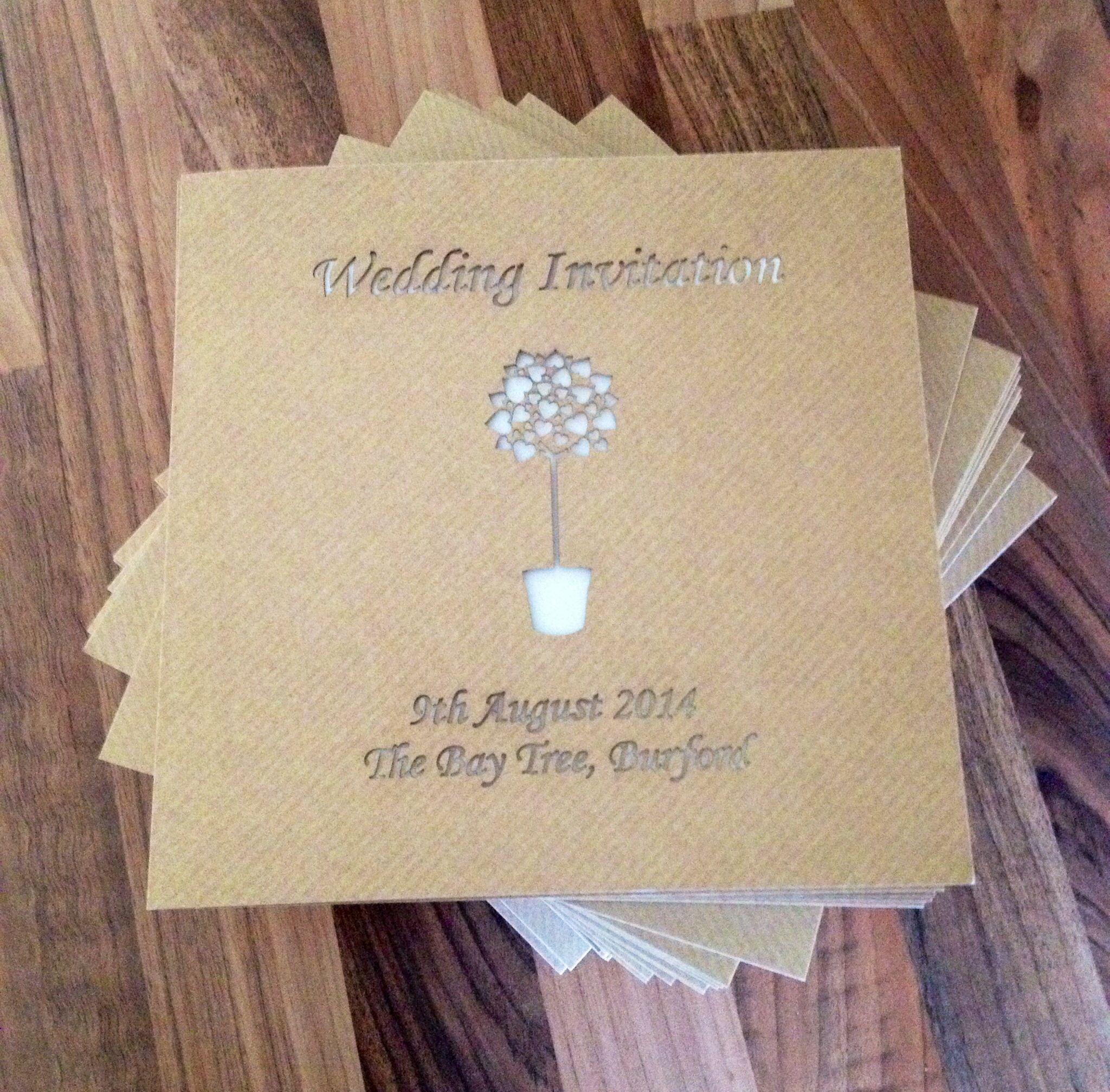 bespoke laser cut wedding invitation the bay tree burford