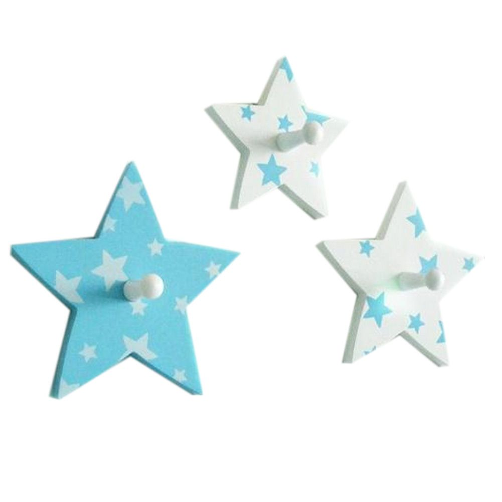 Blue star decorative wall hooks for kids rooms set of 3 oh blue star decorative wall hooks for kids rooms set of amipublicfo Choice Image
