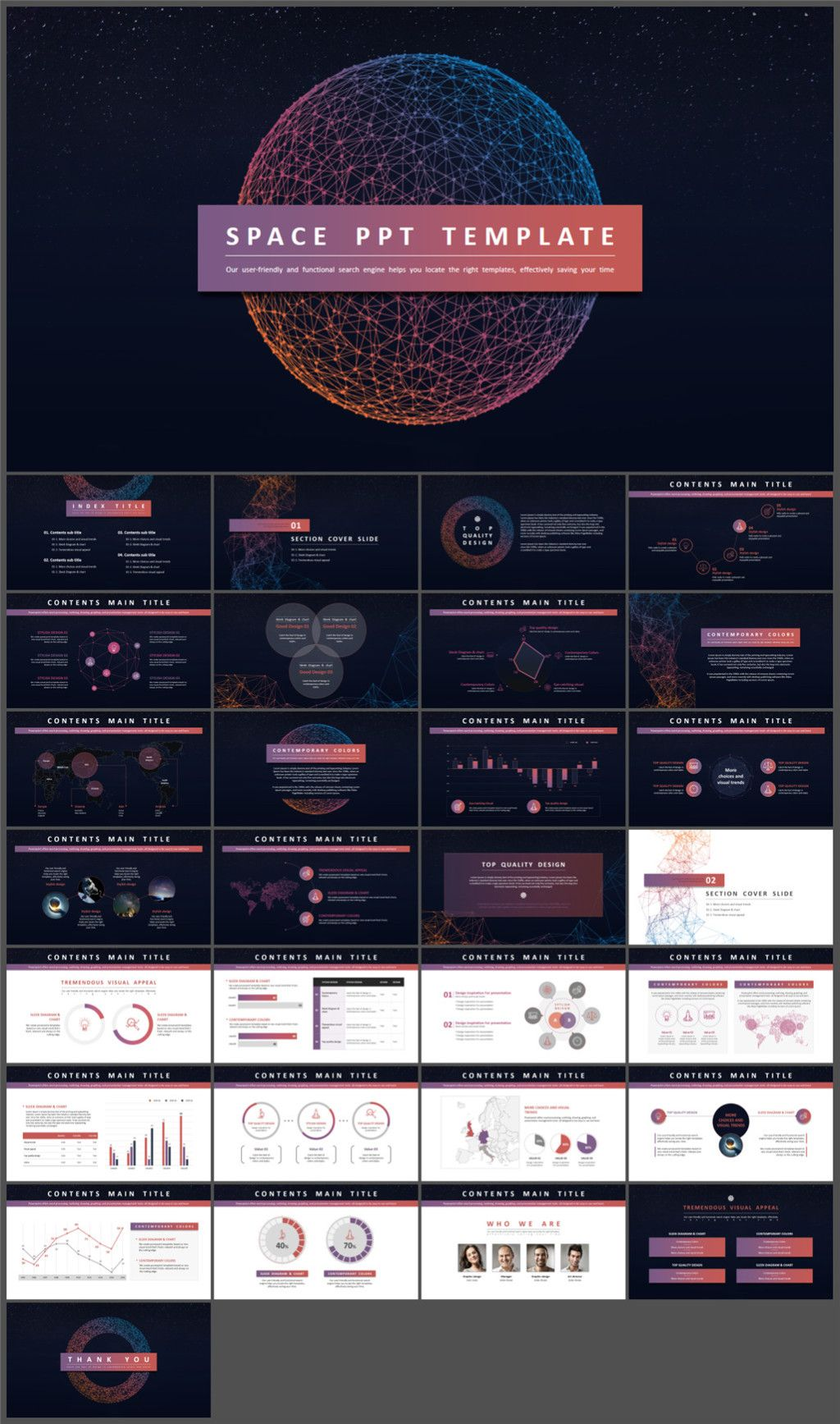 cool sense of science and technology universe powerpoint template