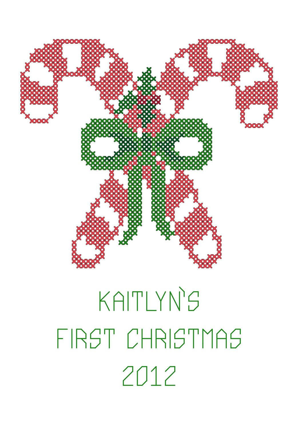 Christmas Cross Stitch Chart Candy Canes Baby S First