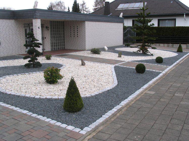 Hauseingang Gestalten Beispiele vorgartengestaltung mit splitt und granit garten