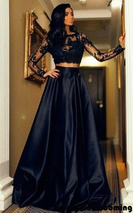 A Line Scoop Neck Satin Tulle Floor Length Appliques Lace Black Long Sleeve  Two Piece Prom