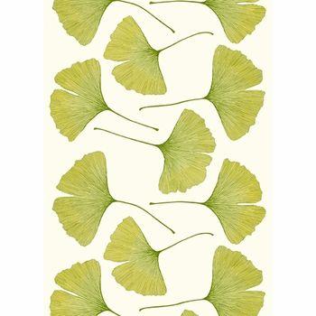 Marimekko Ginkgo Cream/Green Cotton Sateen Fabric | Marimekko ...