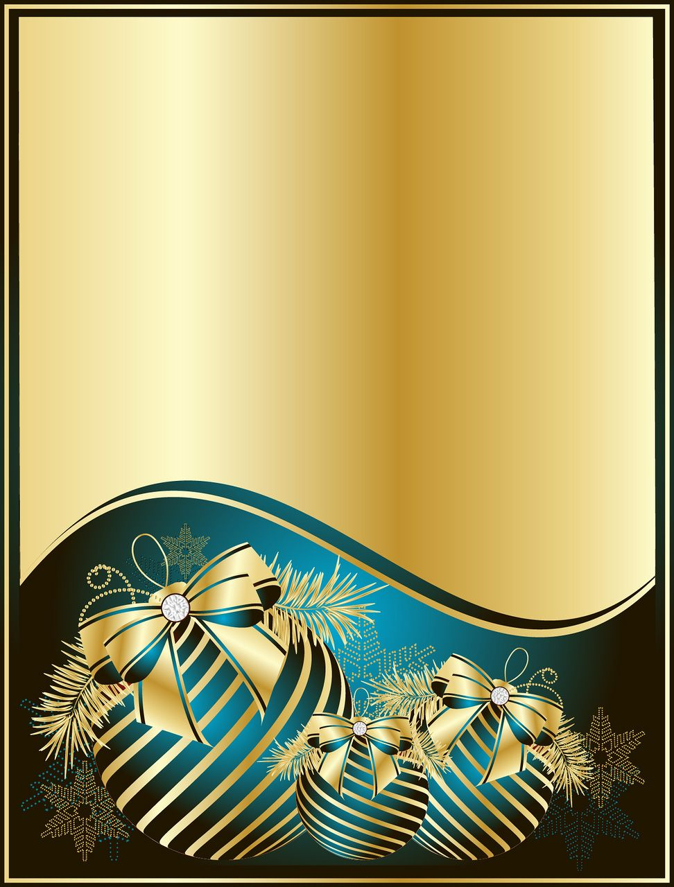 Gold Christmas Background with Blue Balls Christmas