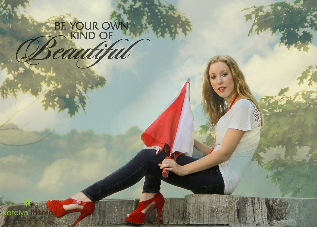 Don't worry about being like everyone else. Your beauty lies in being the unique individual you already are. Word overlay by Ashe Designs. Makeup by Jessica Wiseman. Photo and styling by me. #katelynthomasphotography #beautyportrait #umbrella #redshoes