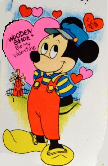 WOODEN SHOE Be My Valentine Disney Mickey Mouse Greeting Card