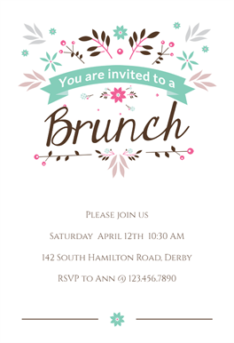 Flat Floral Brunch Lunch Invitation Template Free Greetings Island Lunch Invitation Printable Birthday Invitations Brunch Invitations