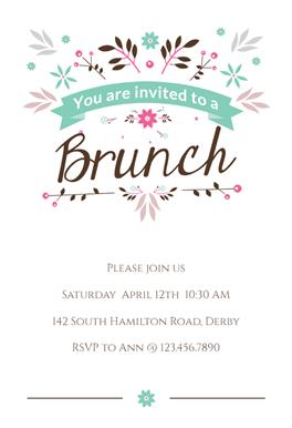 flat floral brunch lunch invitation