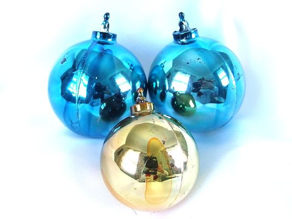 3 Vintage Plastic Christmas Ornaments, Large Blue and Small Gold  Holiday Ornaments