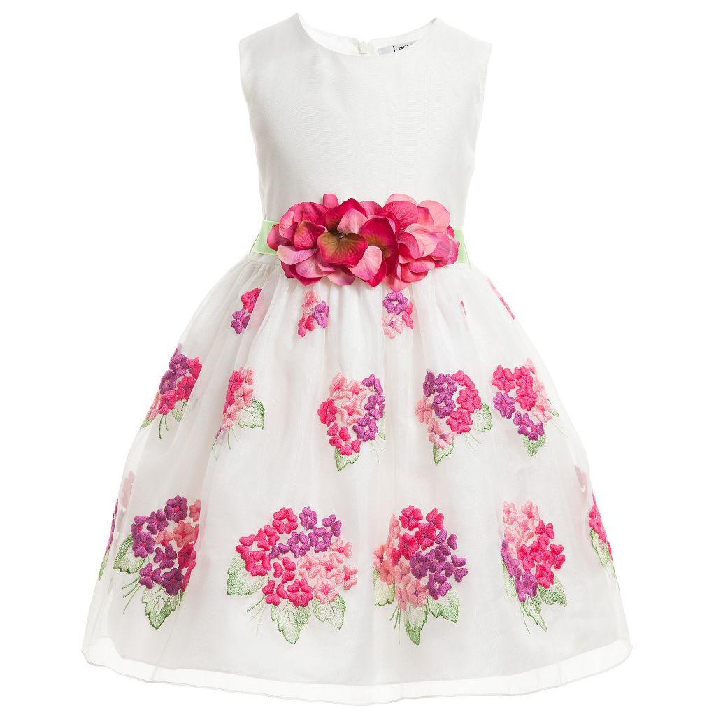 Lesy Girls White Dress With Floral Embroidery Green Belt Ocuk
