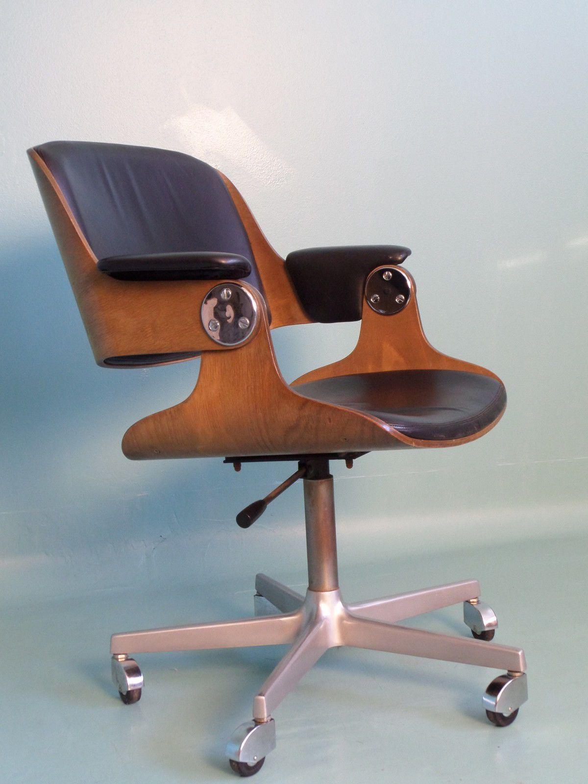 Eugen Schmidt Stuhl Schichtholz Leder Design 70er Darmstadt Knoll Eames ära  1/4