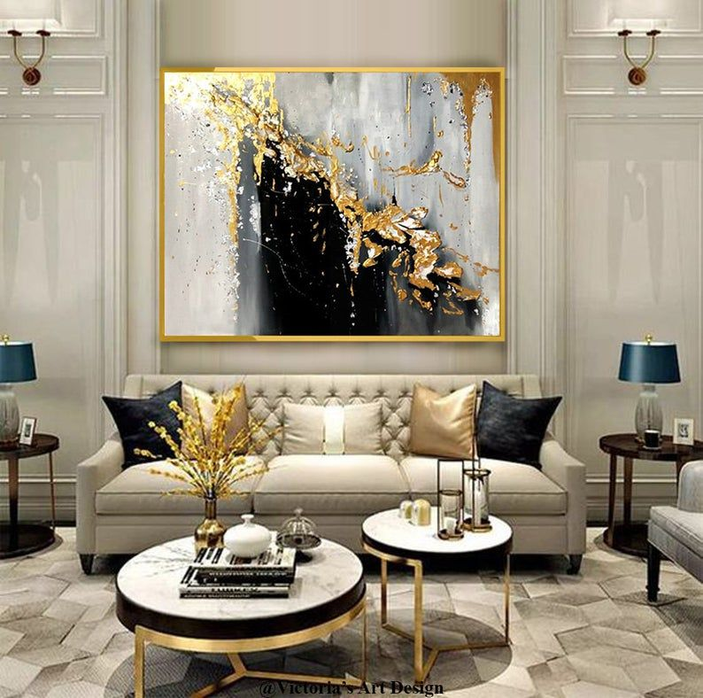 Oil Painting Original Oil Painting Abstract Modern On Canvas Etsy Gold Living Room Living Room Decor Apartment Glam Living Room