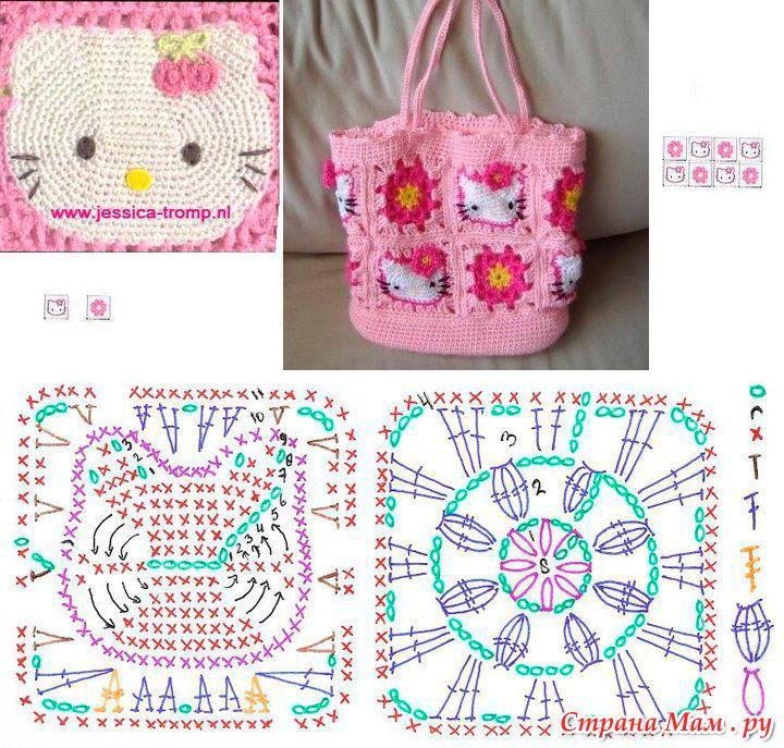 e155f1292ed2 Сумка для девочки Hello Kitty (Схема) | Вязаные сумочки для девочек ...