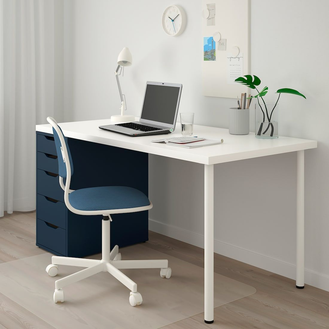 Linnmon Alex Table White Blue 59x29 1 2 Deco Chambre