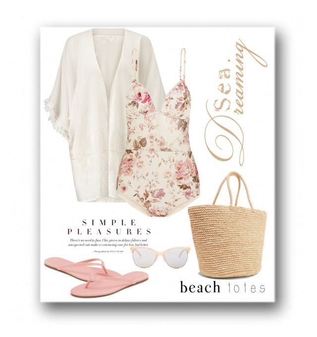 """""""Beach Tote"""" by terry-tlc ❤ liked on Polyvore featuring Jigsaw, Zimmermann, Sensi Studio, LC Lauren Conrad, Smith Optics and beachtotes"""