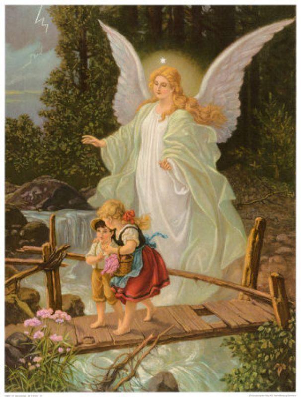 Зла, открытка ангел и дети на мосту