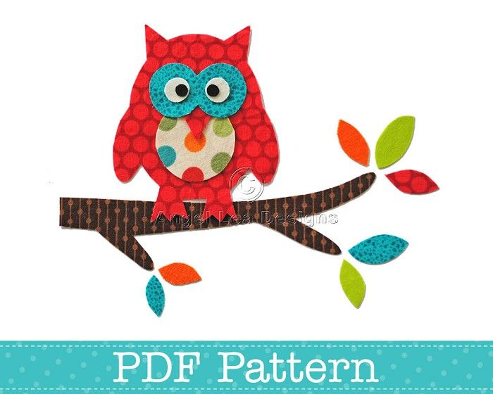 Valentine Owl Applique Template Bird Animal DIY PDF Pattern | Craft ...