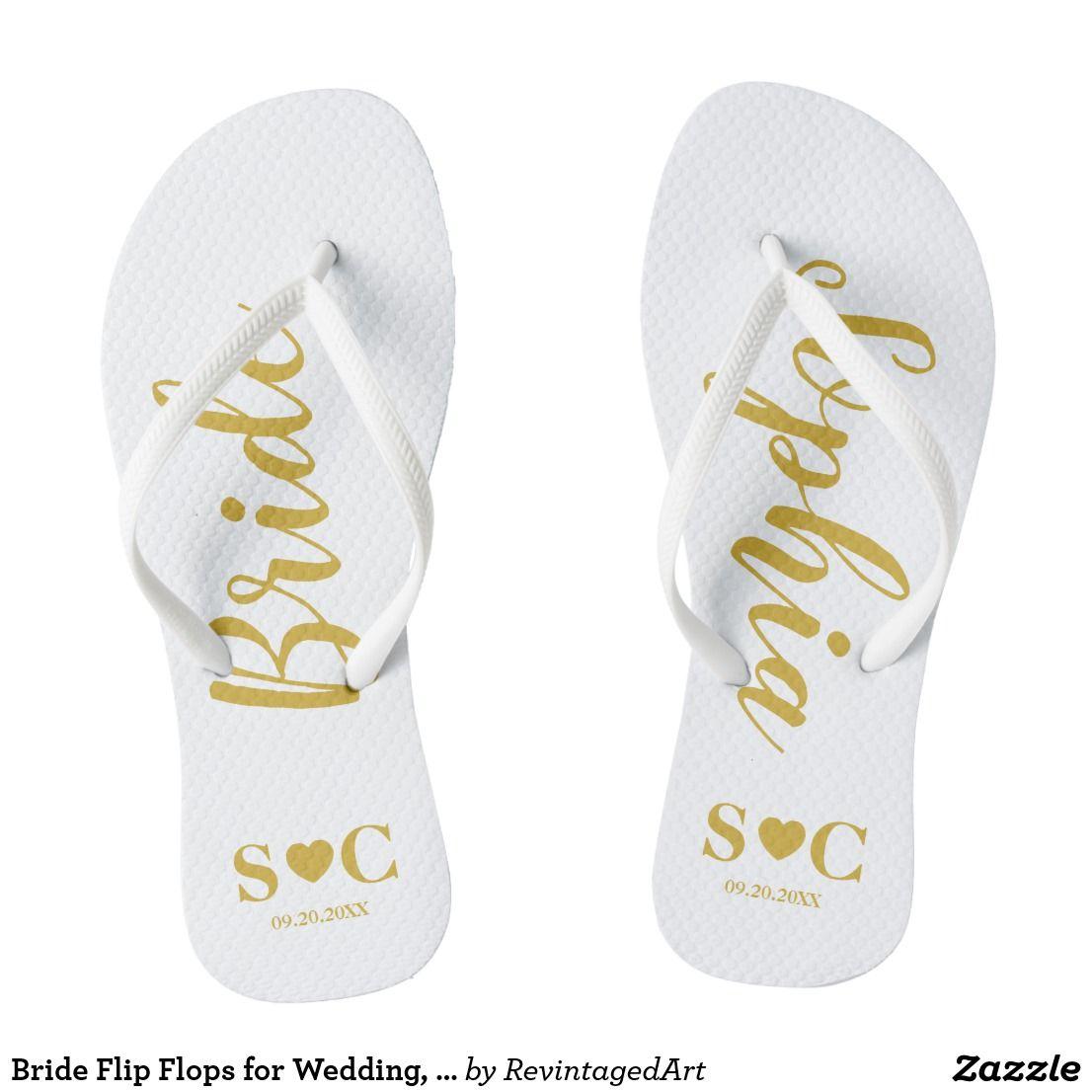 Bride Flip Flops For Wedding Bachelorette Gold Zazzle Com Bride Flip Flops Bridesmaid Flip Flops Gold Flip Flops