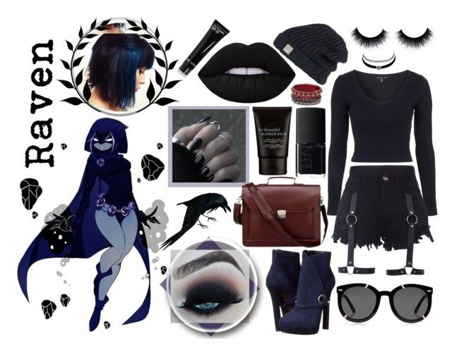 """""""Raven"""" by rachel-hubby ❤ liked on Polyvore featuring Topshop, Bench, Charlotte Russe, Alexander McQueen, Lime Crime, NARS Cosmetics, Karen Walker and Bobbi Brown Cosmetics"""