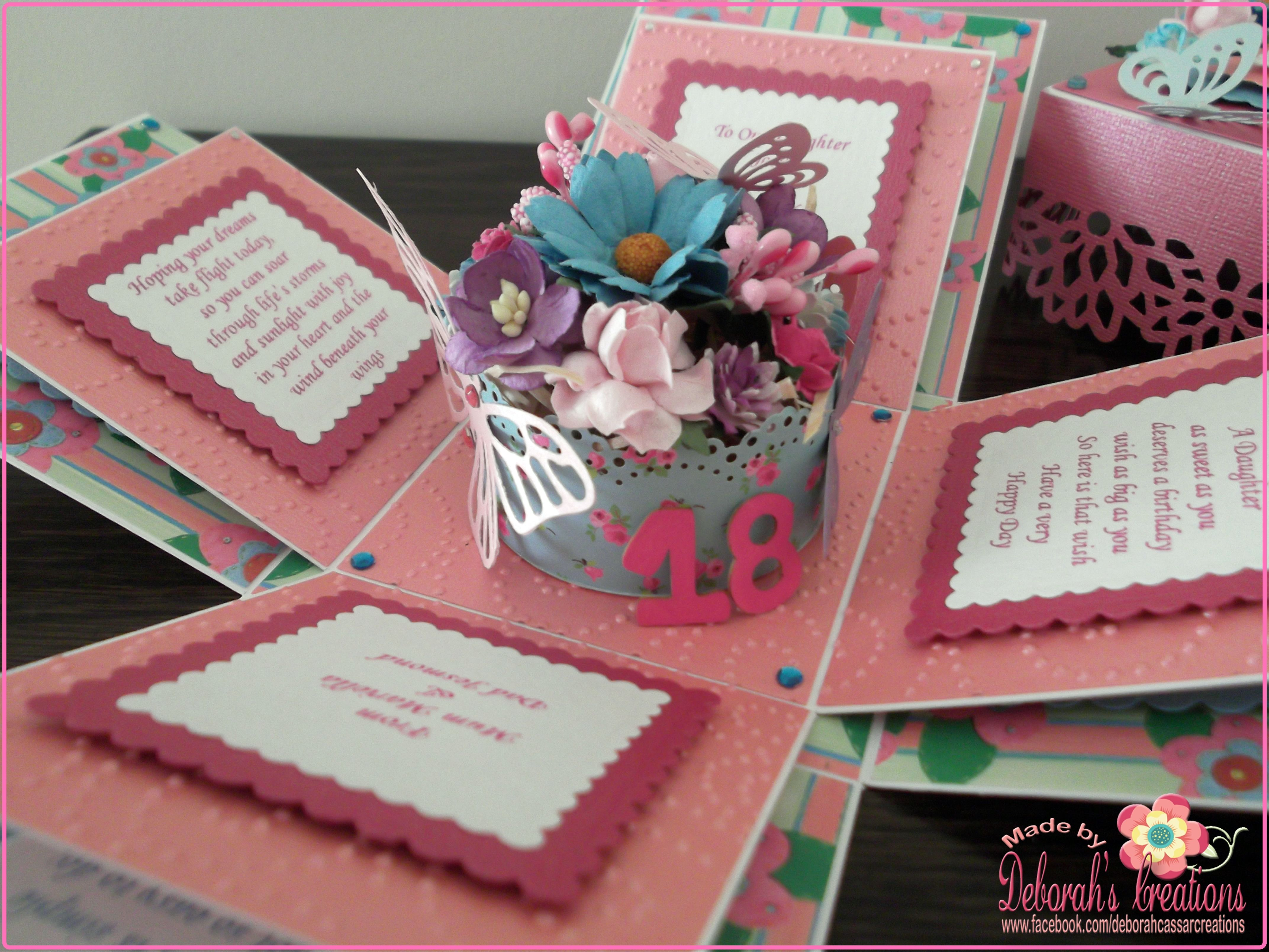 Daughter S 18th Birthday Exploding Box Card Exploding Box Card Birthday Card Craft Daughter Birthday Cards