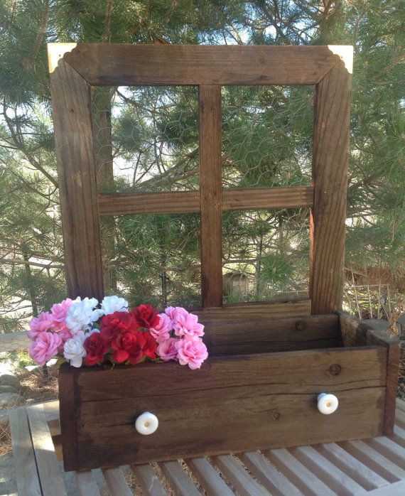 Reclaimed Wood Window Planter Box By Lilhoneysshoppe On Etsy 35 00 Window Planter Boxes Rustic Window Frame Planter Boxes