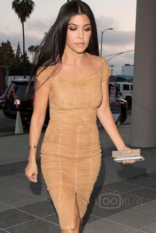 3b423c17365 Kourtney Kardashian wearing Alice Olivia Gracelyn Suede Off Shoulder Crop  Top, Alice Olivia Kori Suede Skirt, Lee Savage Space Clutch, Manolo Blahnik  BB ...