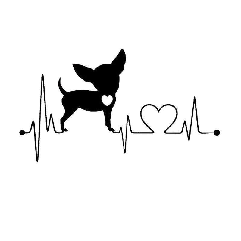 Chihuahua My Heartline Heartbeat Style Decal Stickers Mensajes