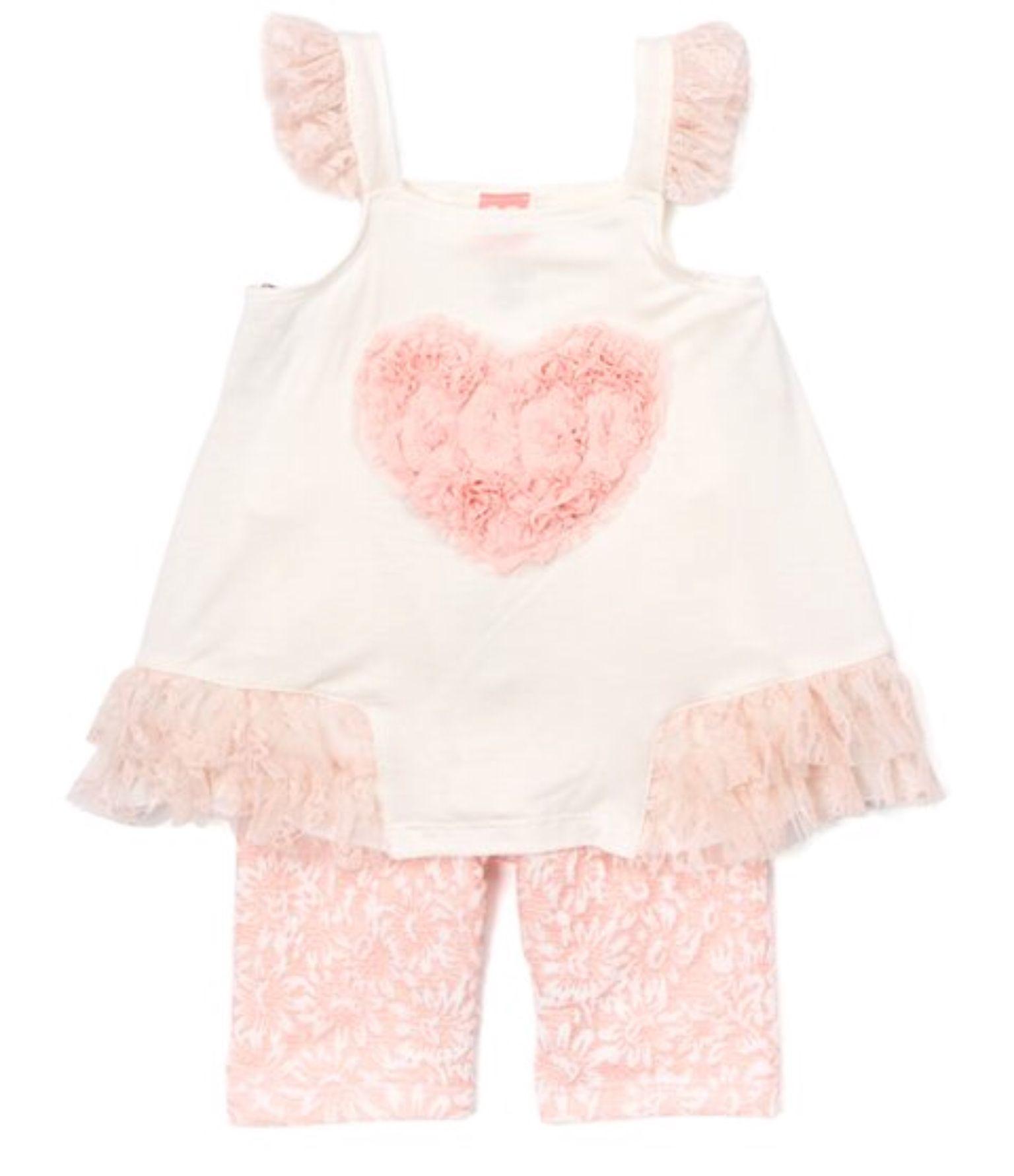 Blush & Ivory Heart Tunic & Shorts Infant Toddler & Girls