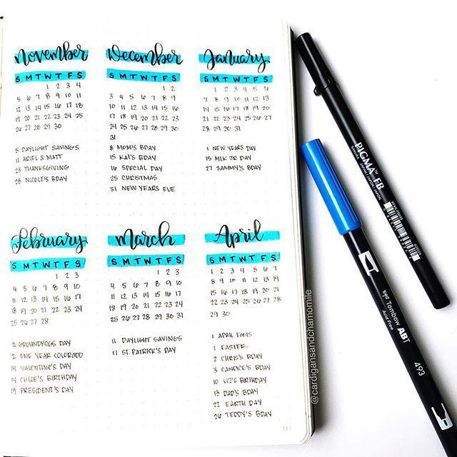 New six month calendar - #bulletjournal #bujo #bujocalendar