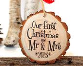 Our First Christmas as Mr and Mrs - Gifts for Newlyweds - Wedding Gift - Customized Christmas Ornament - Bridal Shower Gift