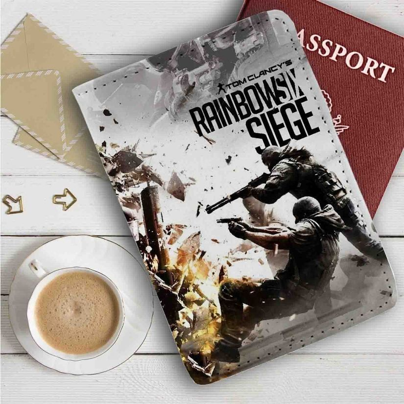 Tom Clancy S Rainbow Six Siege Leather Passport Wallet Case Cover