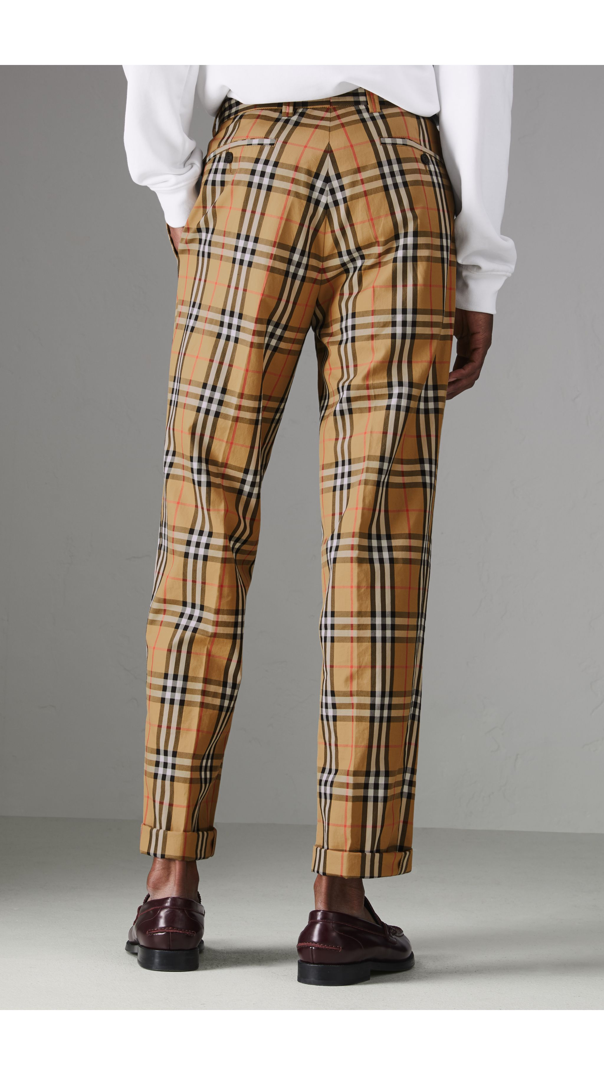 8fcab2a9481 Vintage Check Cotton Trousers in Antique Yellow - Men