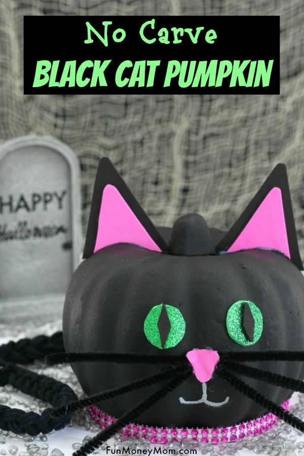 How To Make An Easy Black Cat Pumpkin For Halloween #pumpkinpaintingideasforkids