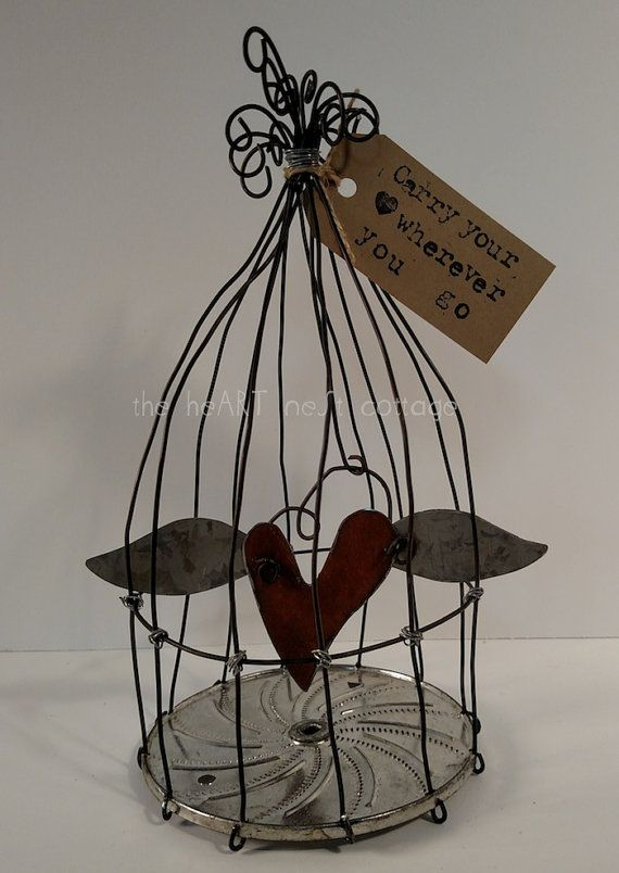 Wire Birdcage Sculpture Metal Heart By Theheartnestcottage On Etsy