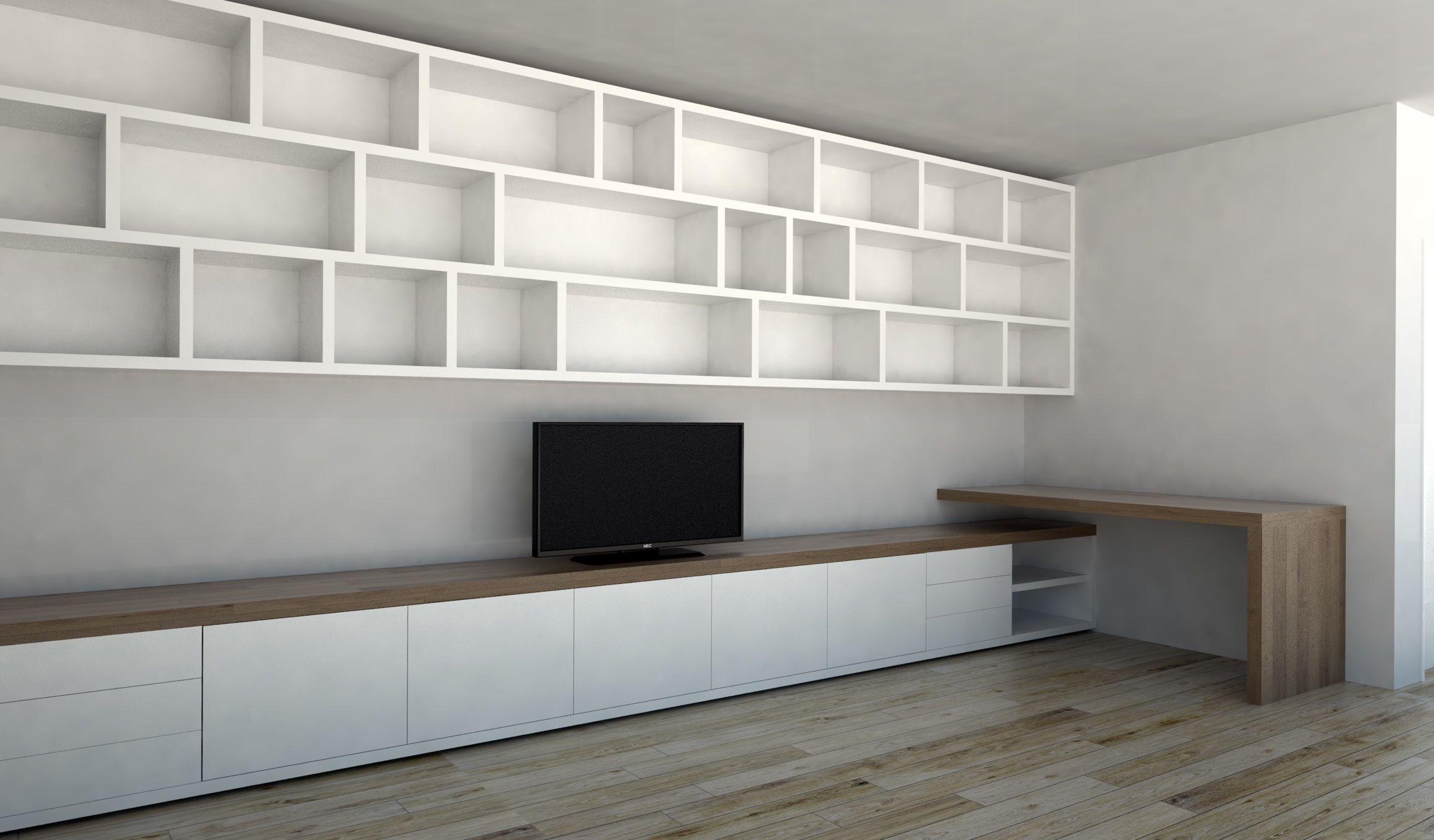 mooie woonkamer kast : kasten op maat: dressoir, boekenkast, tv, Deco ideeën