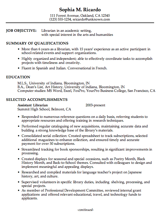 Academic Resume Sample Chronological Resume Sample Academic Librarian Pg1  Resume Design
