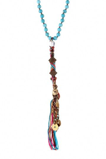 Turquoise Beaded & Multicolor Braided Thread Drop Necklace on HauteLook