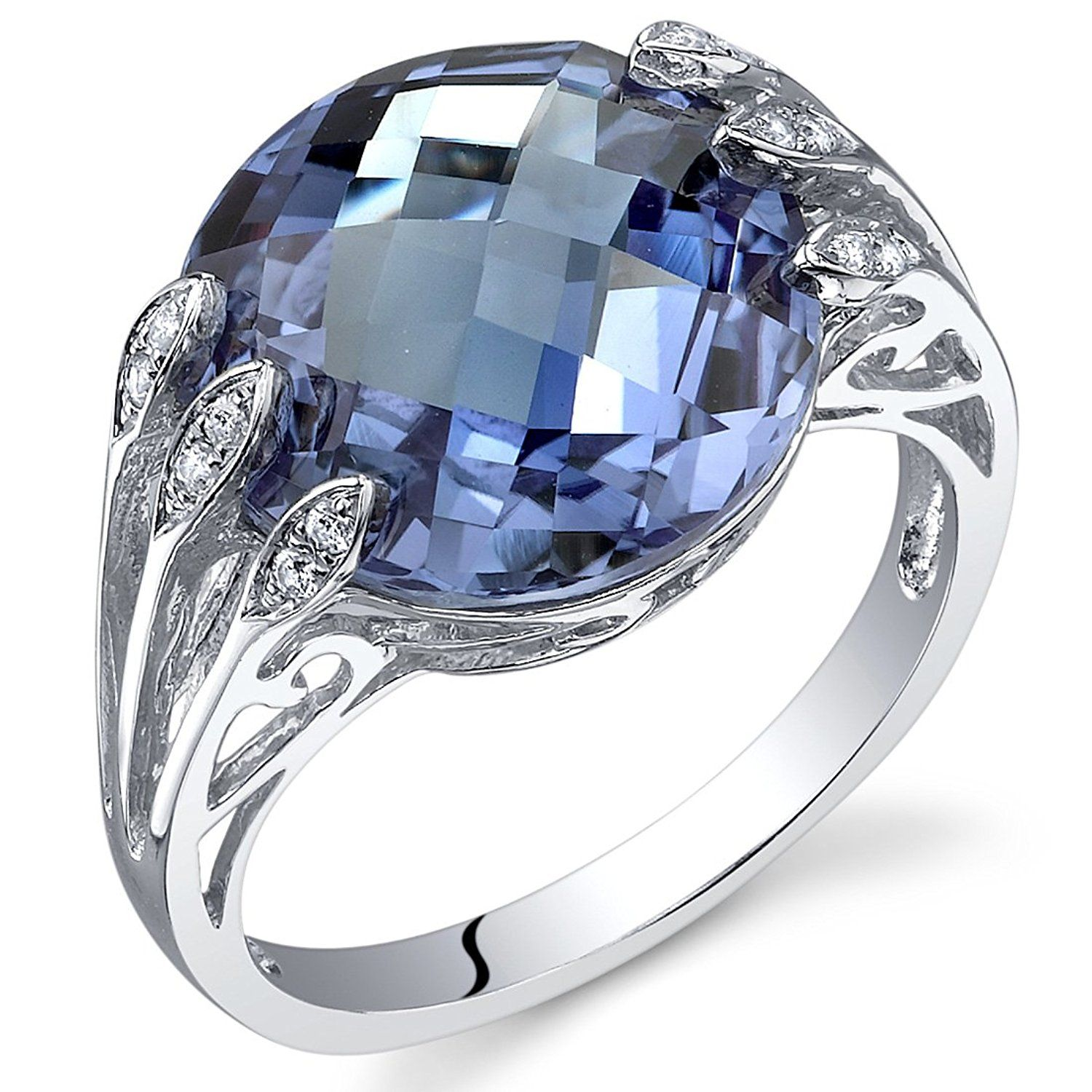 CloseoutWarehouse Heart Infinity Blend Cubic Zirconia Blue Simulated Opal 925 Sterling Silver Size 6