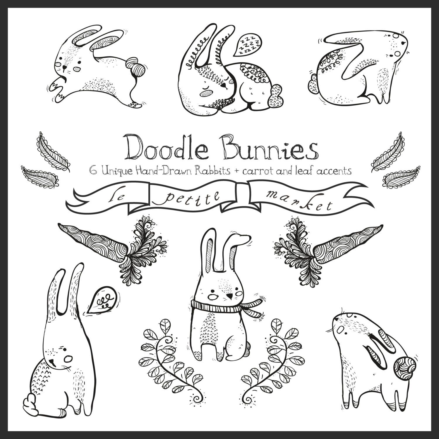 Doodly Cute Bunny Graphics Digital Rabbits And Digital Bunnies Hand Drawn Clipart Instant